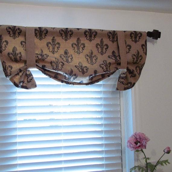 Valance W Burlap Ties And: Fleur De Lys Printed Burlap TIE UP Curtain By Supplierofdreams