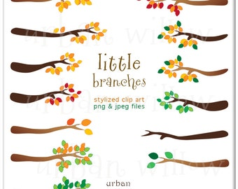 Little Branches  - 14 piece Digital clip art pack, in high resolution, Png & Jpeg digital art files.