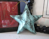 Decoupage Star, turquoise and black, scrolled, paper craft, home decor, country style