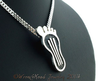 Sterling Silver Gasser Barefoot Pendant c/w Chain