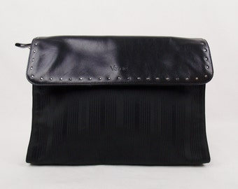 Vintage Designer GIANNI VERSACE COUTURE Black Large Clutch With Metal Grommet trim  Street Style Chic Trending