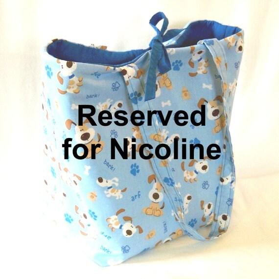 RESERVED----Dog Tote Bag Purse Beagle Puppy Paw Print Bone Blue Brown White Fabric Bag Shoulder Bag Market Bag Large Bag