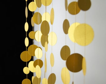 Fine Gold Circles Paper Garland,  20 Colors to Choose, Double-Sided, Bridal Shower, Birthday Decoration, Gold Birthday, Gold Party