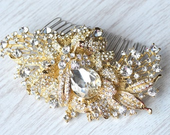 GOLD Vintage style bridal hair comb and DHL shipping