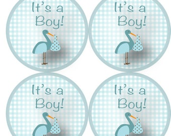 """63 """"It's a Boy"""" Envelope Stickers in baby blue - Celebrate your new baby boy with these cute new stickers"""