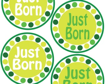 ADD ON Just Born Stickers for Baby, Just Born Stickers  - Baby Boy Green - Just Born Stickers -Baby Shower Gift - Baby