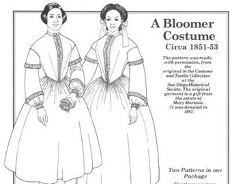 PP811 - Past Patterns #811, 1851-1853 Bloomer Costume and Fashionable Dress Sewing Pattern