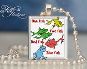 One Fish Two Fish (Dr. Seuss)- a jewelry pendant charm made from a Scrabble Game Tile game piece with free ball chain