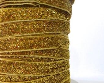 Gold 9mm Glitter Velvet Ribbon