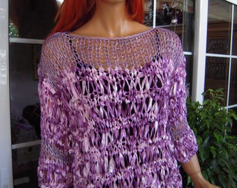 sweater in deep purple ribbon yarn handmade knitted sparkle  all season sweater ready to ship last one in this shade by goldenyarn