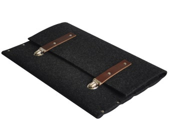 Macbook 13 Air, 13 Pro cover case black synthetic felt dark brown leather straps handmade by SleeWay