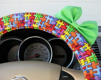 Steering Wheel Cover Bow, Autism Awareness Steering Wheel Cover with Minty Lime Green Bow, Autism Wheel Cover Bow, Autism Puzzle BF11162