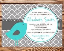 Bird Baby Shower Invitation, Baby Shower, Little Bird, Pink, Blue, Teal, BOY, GIRL, baby shower boy, girl, 1229