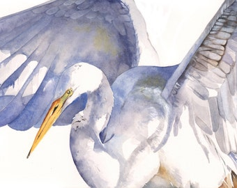 Great Egret watercolor painting- wildlife bird painting 5 by 7 print wall art print - bird art - art print - wildlife print GE10914
