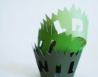 Wild Cupcake Wrappers In Your Choice of Color Qty 12 By Your Little Cupcake