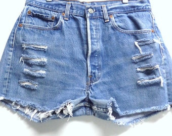 LEVIS Distressed High Waisted Shorts Waist 31 inches