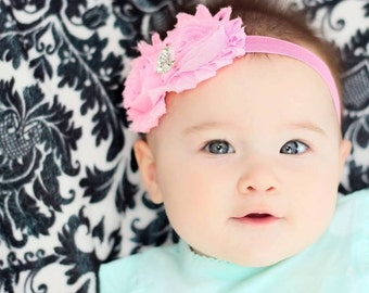 Bubblegum Pink Rhinestone Double Shabby Chiffon Flower Headband Newborn 0-3 months baby girl shower gift photo prop barbie