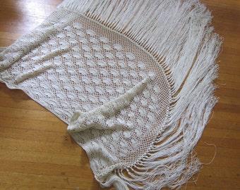 Fabulous vintage large  hand made Ivory shawl. 1970s, large wrap, hand made shawl, hippie shawl, festival fashion, boho wear