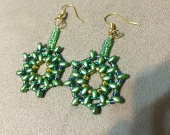 Stunning Beaded Earrings in Green and Blue