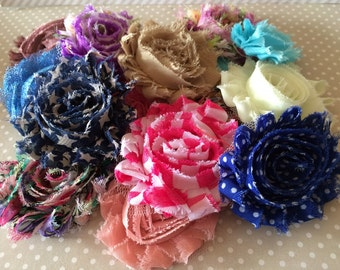 Shabby Chic Chiffon Flowers - 18 count GRAB BAG - 50% OFF Frayed Rosette Flowers - vintage shabby rose fabric flowers mix of solids & prints