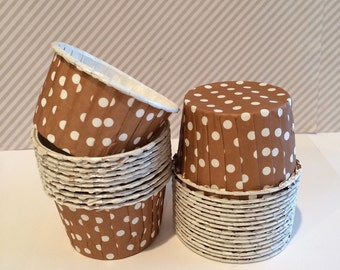 Caramel Brown Polka Dot Candy Cups Nut cups Grease proof  Baking cupcake liners muffin cups Ice cream dessert portion cups - 24 count