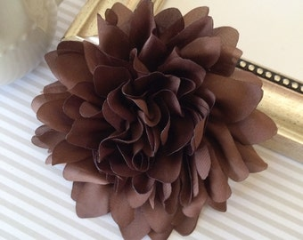Brown Fabric flower  -  4''  large silk White  fabric flower - flat back  Dahlia Silk Flower