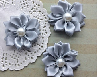 "Small Silver Fabric Flowers (6 pcs) - 1.5 "" Gray Satin ribbon flowers pearl centers flower applique Sweetheart accent flower embellishment"