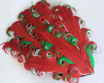 Red on Green and White Feather Pad- Curly Feather Pad -  Holiday Christmas  Feather Pad FP215 - (1 piece)