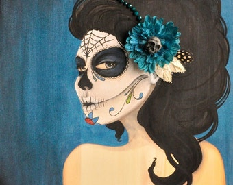 Dreams of the Past 12x12 mixed media painting on wood Day of the Dead Catrina