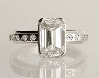 Emerald cut Diamond Engagement Ring, 14k white gold (center stone sold separately), heart-shaped ring band