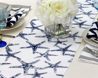 Choose your Table Runner, Navy Blue Table Runner - Navy Blue Wedding Linens - Navy Blue Table Topper - Starfish Navy Blue Table Runner