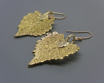 24kt Gold Plated Cottonwood Leaf Earrings