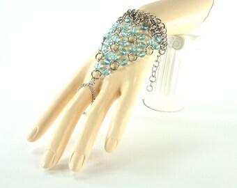 Renaissance Wedding Jewelry Hand Flower Renaissance Faire Costume Slave Bracelet