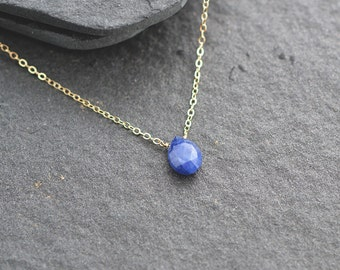 Sapphire Necklace, September Birthstone, Solitaire Necklace, Bridesmaid gift, Genuine Sapphire, Gold Fill Necklace, Blue Sapphire