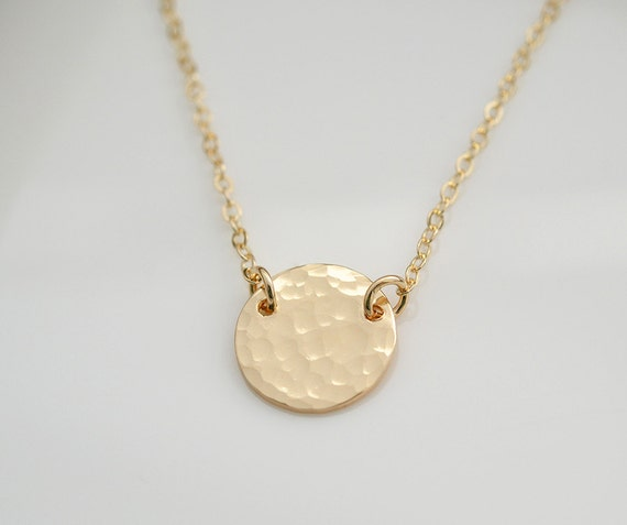 Hammered Gold Filled Circle Necklace,Dainty,Minimalist,Simple Everyday Jewelry,Bridesmaid Gift,