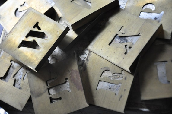 Vintage brass stencil set full alphabet and numbers for Metal stencil set letters