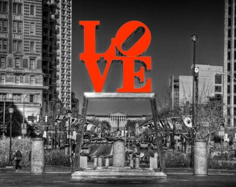 Philadelphia Love Statue Photograph Fine Art Photograph Black and White Red Love Color Art Print John F Kennedy Plaza