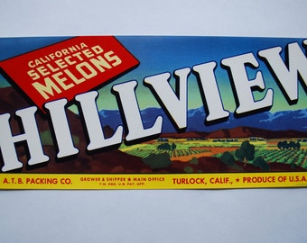 Vintage Crate Art - HILLVIEW - 1940's lithograph - Scenic View - Industrial Art