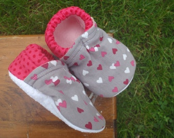 Baby Shoes for Girls - Gray/Grey with Pink, Red and White Hearts and Pink Polka-Dots - Custom Sizes 0-24 months