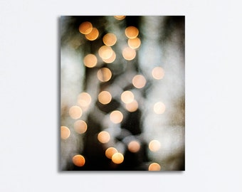 "Abstract Canvas Gallery Wrap - bokeh lights photography black gold beige grey gray modern wall art gallery wrapped canvas print, ""Glimmer"""