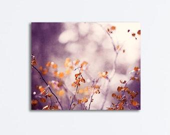 """Purple, Orange Nature Canvas Wrap, plum rust brown canvas gallery wrap branches wrapped canvas print branch purple photo, """"Garden Sanctuary"""""""