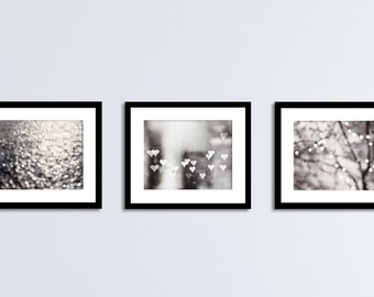 Grey Abstract Photography Set - silver black and white sparkle prints, gray bokeh wall art, neutral sparkly photo set, modern photographs