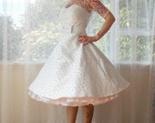 "Ivory 1950's ""Annette"" Polka Dot Wedding Dress with Sweetheart Neckline, Tea Length Skirt and Petticoat - Custom made to fit"