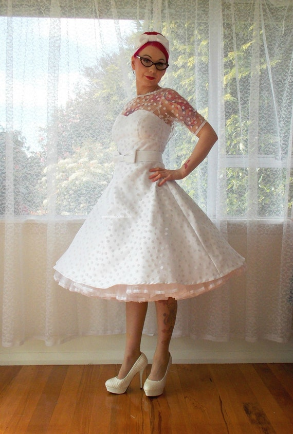 """1950's """"Annette"""" Polka Dot Wedding Dress with Sweetheart Neckline, Tea Length Skirt and Petticoat - Custom made to fit"""