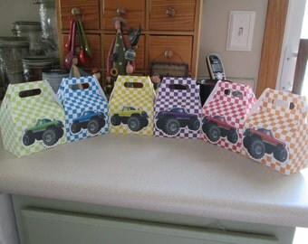 Monster Truck Gable Favor Boxes Set of 12