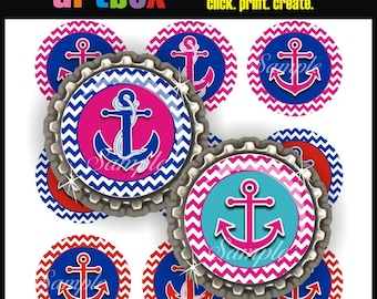 Chevron Anchors Bottle Cap Images - 4x6 Digital Collage Sheet - Nautical BottleCap One Inch Circles for Badge Reels, Hair Bows, Pendants