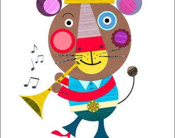 Jolly, bear, with trumpet, print