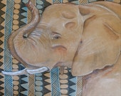 ELEPHANT 12x12 mixed media drawing with FOUR a little love cards