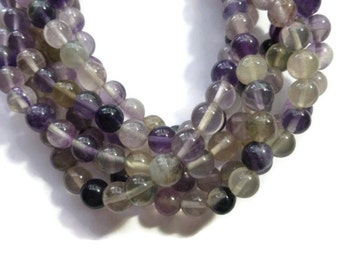 Purple Fluorite - 8mm Round - 49 Beads - Full Strand