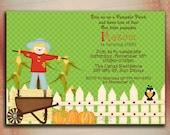 Pumpkin Birthday Invitation, 1st Birthday Invitation, Pumpkin Baby Shower Invitation, Scarecrow Birthday Invitation, Thanksgiving Dinner-DIY